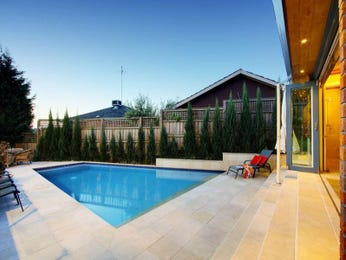 In-ground pool design using slate with retaining wall & outdoor furniture setting - Pool photo 617593