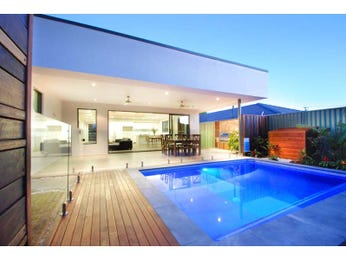 In-ground pool design using slate with decking & decorative lighting - Pool photo 287428