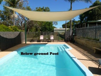 In-ground pool design using tiles with pool fence & latticework fence - Pool photo 1077199