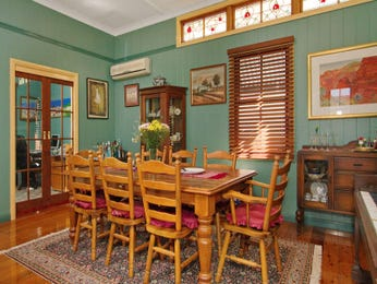 Country dining room idea with hardwood & french doors - Dining Room Photo 287802