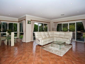 Dining-living living room using brown colours with tiles & french doors - Living Area photo 1318539
