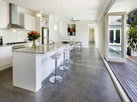 View the polished concrete floors photo collection on home for Concrete kitchen floor ideas
