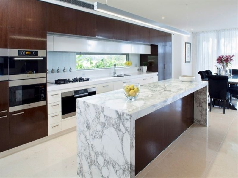 Modern Galley Kitchen Design Using Marble Photo