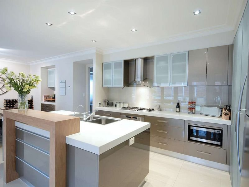 Modern Single-line Kitchen Design Using Tiles