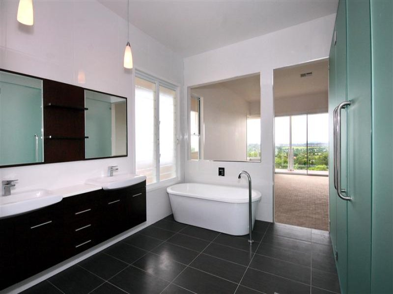 Modern bathroom design with freestanding bath using tiles bathroom