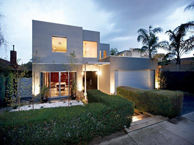 Rendered brick modern house exterior with floor to ceiling for Modern house facades