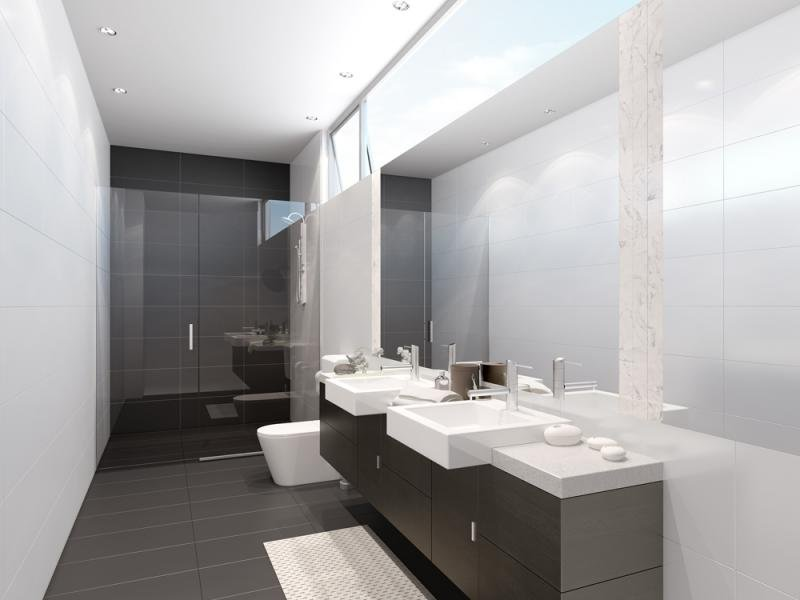 Classic bathroom design with claw foot bath using ceramic for Ensuite design plans