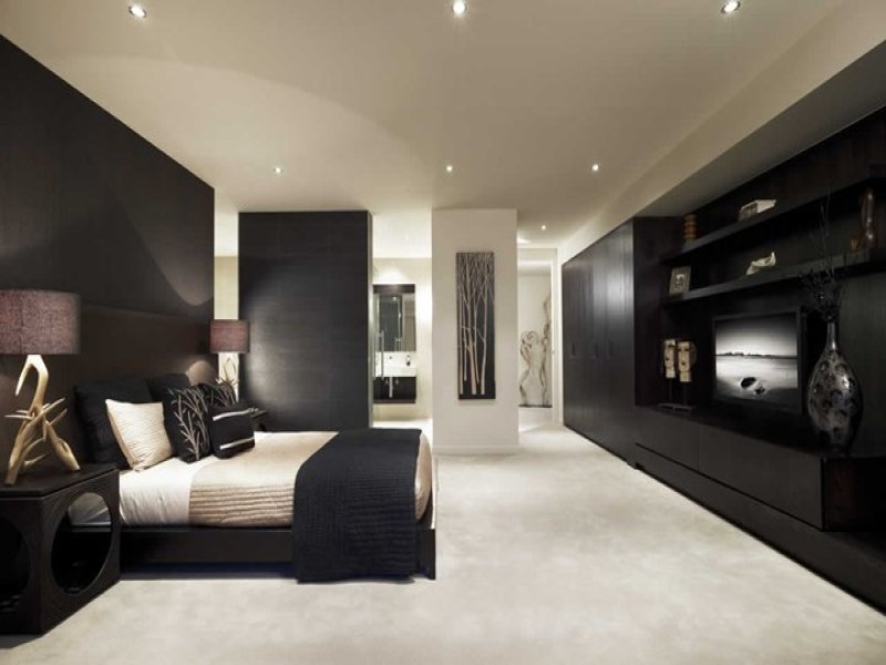 Modern bedroom design idea with wood panelling built in for Bedroom designs and colours