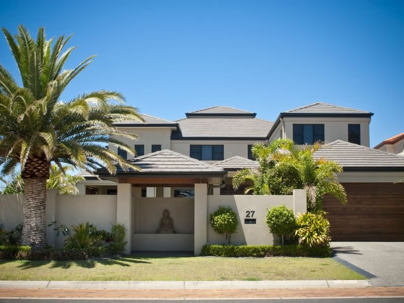 Photo of a rendered brick house exterior from real for Exterior facade ideas
