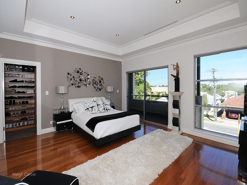 Black bedroom design idea from a real australian home for Grey feature wallpaper bedroom