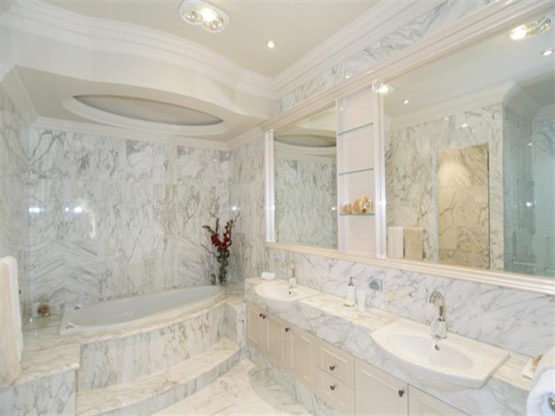 French provincial bathroom design with floor to ceiling