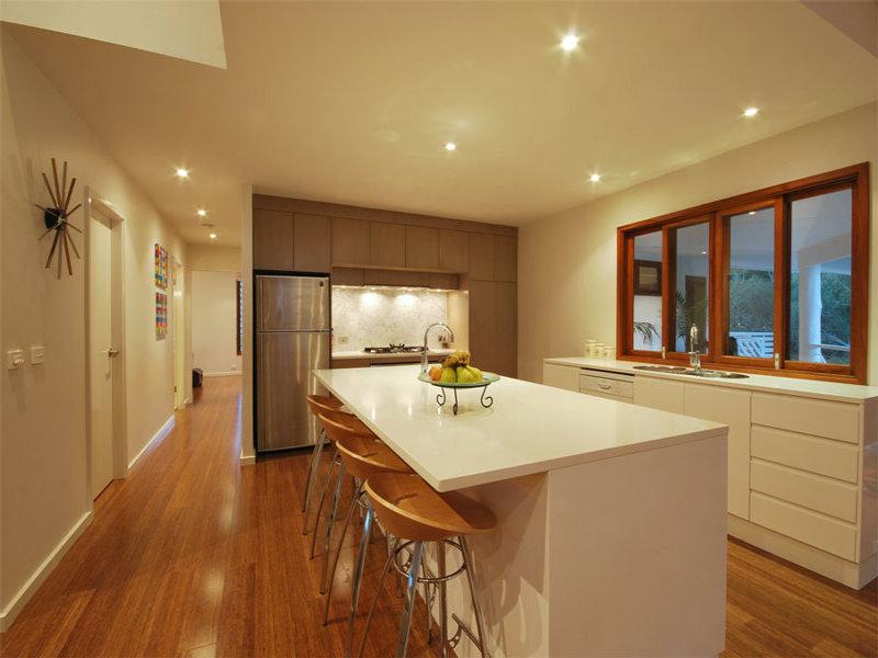 retro galley kitchen design using floorboards kitchen