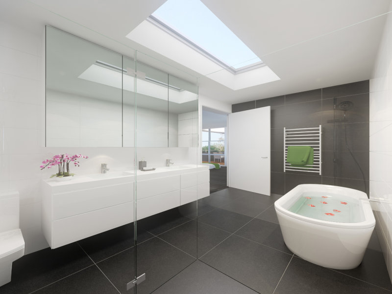 Modern bathroom design with freestanding bath using for Contemporary ensuite bathroom design ideas