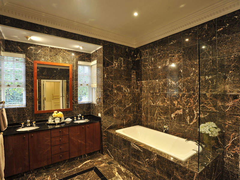 Modern Bathroom Design With Corner Bath Using Granite   Bathroom Photo .