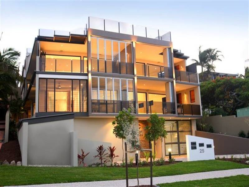 concrete modern house exterior with balcony feature