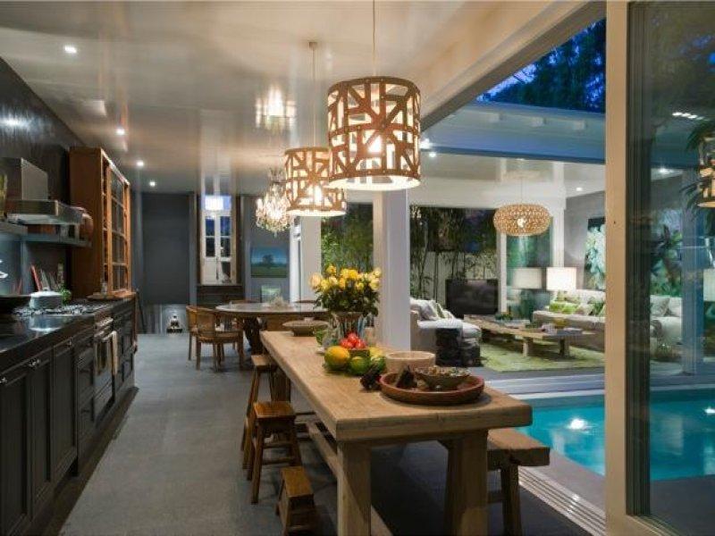 dining room idea with bluestone & bay windows - Dining Room Photo ...