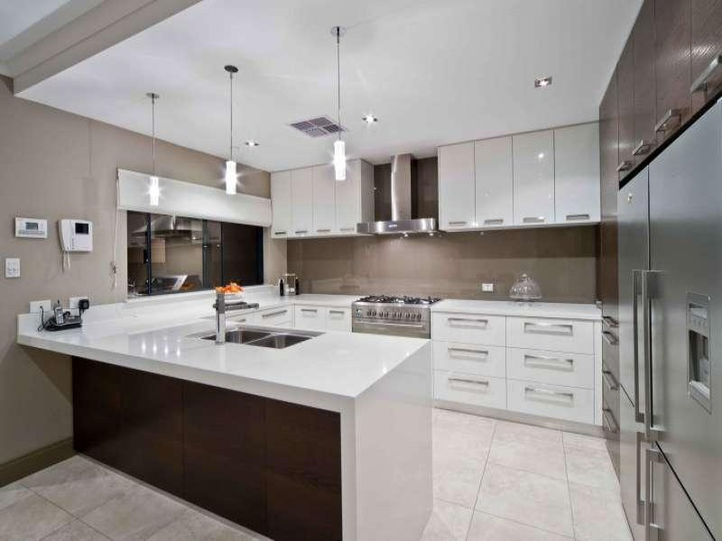 Modern u shaped kitchen design using tiles kitchen photo for Modern u shaped kitchen designs
