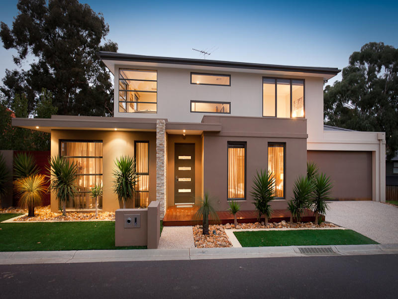 Photo of a slate house exterior from real australian home for Exterior house facade ideas