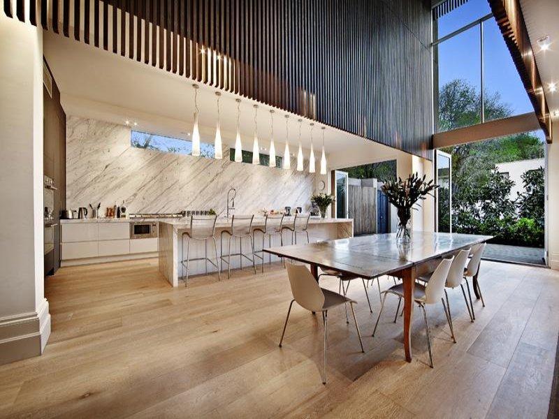 Modern dining room idea with hardwood bar wine bar for Modern wine bar design