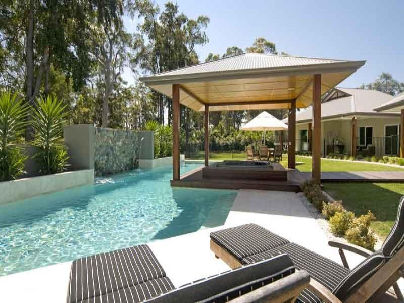 Photo of a geometric pool from a real australian home for Pool design ideas australia