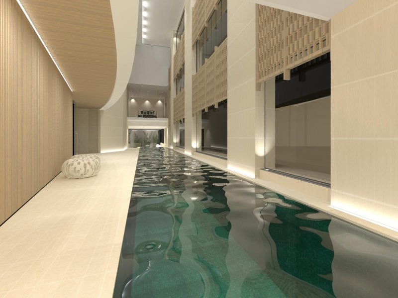 Pool Design Using Tiles With Retaining Wall & Decorative Lighting