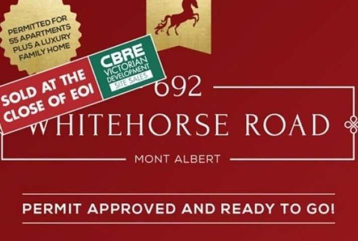 Sold Development Site Land At 692 Whitehorse Road Mont Albert VIC 3127