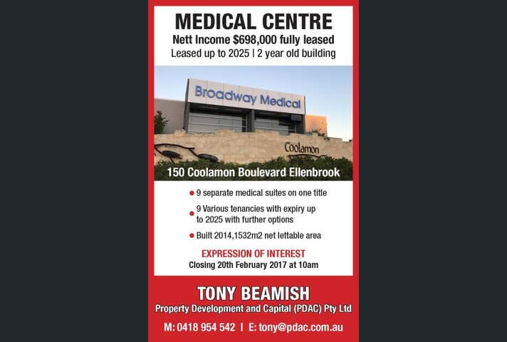 Broadway Medical Centre, 150 Coolamon Boulevard Ellenbrook WA 6069 - Image 1