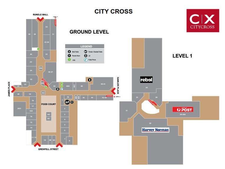 City Cross Shopping Centre, 32-36  Grenfell St Adelaide SA 5000 - Floor Plan 1