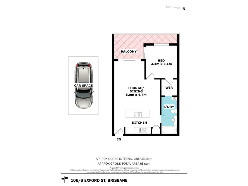 106/6 Exford Street, Brisbane City, Qld 4000 - floorplan